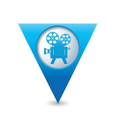 cinema icon map pointer blue vector image