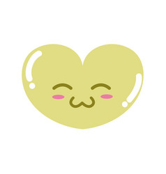 Colorful cute heart kawaii character design vector