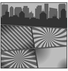 comic book monochrome pages template with radial vector image