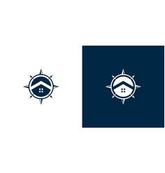 Compass and home logo design vector