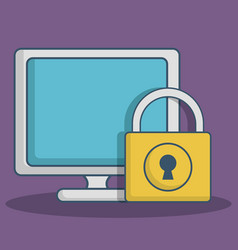 Computer and padlock icon vector
