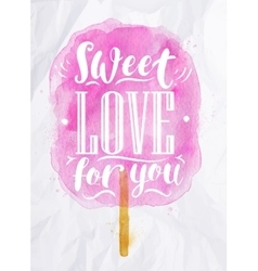 Cotton candy sweet love vector