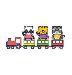 cute animals train toy vector image