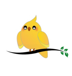 Cute cockatiel on a twig vector