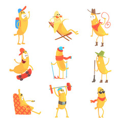 Cute happy humanized bananas in different actions vector
