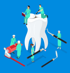 Dental care concept 3d isometric view vector