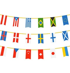 Different color flags of countries on rope vector image