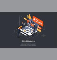 digital marketing searching trends internet vector image