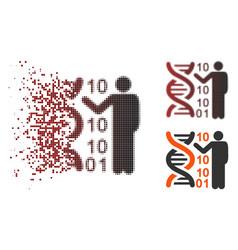 Dissolved pixel halftone dna code report icon vector
