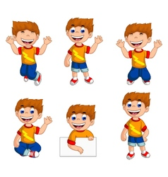 Expression of boy cartoon collection vector