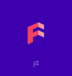 F letters geometric logo cube monogram construct vector