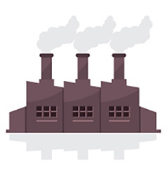 Factory Building With Smoke Stacks vector