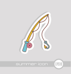 fishing rod icon summer vacation vector image