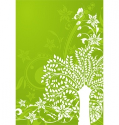 Floral background with tree vector