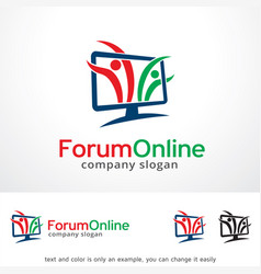 Forum online logo template design vector