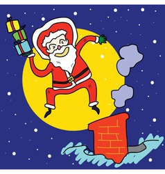 funny santa jump over chimney under moonlight vector image