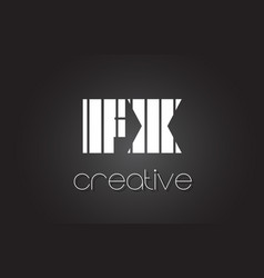 fx f x letter logo design with white and black vector image