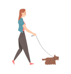girl walking with dog in park cartoon style vector image