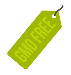 Gmo free green price tag icon isolated vector