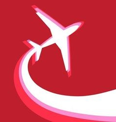 graphic symbol an airplane on a red background vector image