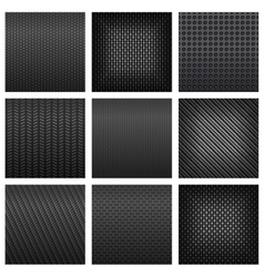 Gray carbon fiber and metallic textured pattern vector