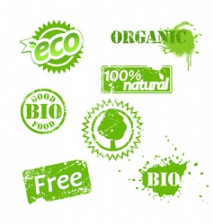 grunge bio labels vector image