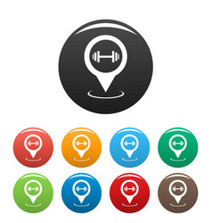 gym map pointer icons set simple vector image
