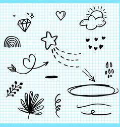 hand drawn set elements black on paper vector image