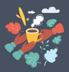 Hands with coffee mug on dark vector