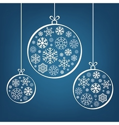 Hanging Christmas balls from snowflakes and ribbon vector