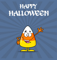Happy candy corn cartoon character waving vector