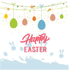 Happy easter hanging eggs white background vector