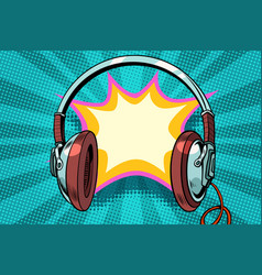Headphones comic bubble audio vector