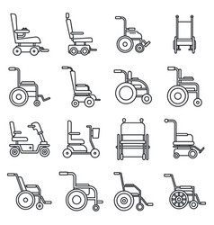 human wheelchair icons set outline style vector image