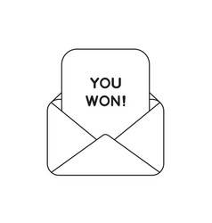 icon concept envelope with you won on paper vector image