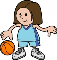 illustration of girl playing basketball vector image vector image