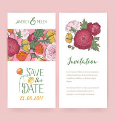 Invitation cards with ranunculus flowers vector