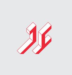 Jc - logo or 2-letter code isometric 3d font vector