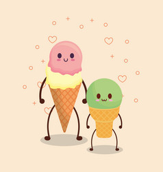 Kawaii ice creams design vector