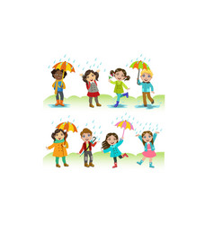 kids playing in rain set happy boys and girls vector image