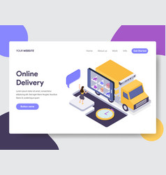 Landing page template of online delivery concept vector