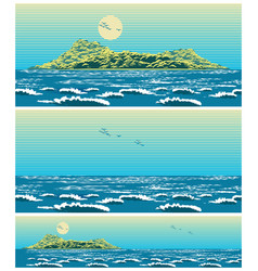 landscape of the open sea with the island retro vector image