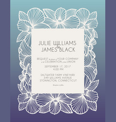 laser cut wedding invitation with orchid flowers vector image