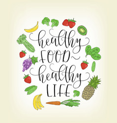 lettering with hand drawn fruits and vector image