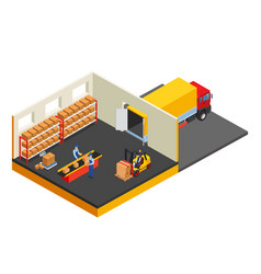 Loading or unloading a truck in the warehouse vector
