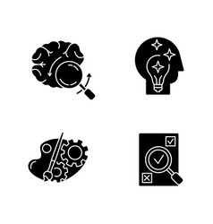 Logical mind black glyph icons set on white space vector