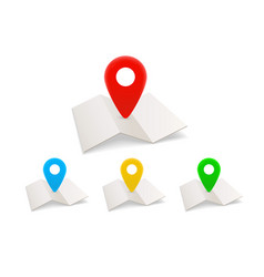 maps icons with color pins isolated on white vector image