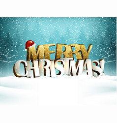 Merry christmas inscription is in the winter snowy vector