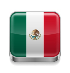 Metal icon of Mexico vector image