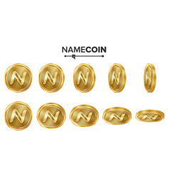 Namecoin 3d gold coins set realistic flip vector